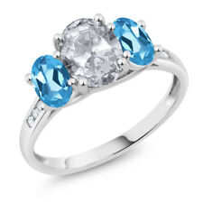 10K White Gold 2.30 Ct Oval White Topaz Swiss Blue Topaz 3-Stone Ring