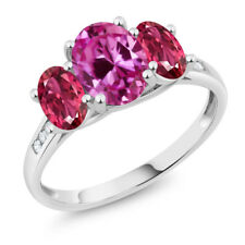 10K White Gold 2.41 Ct Oval Pink Created Sapphire Pink Tourmaline 3-Stone Ring