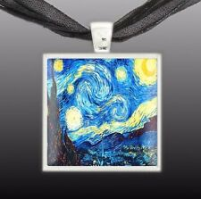 """The Starry Night Van Gogh Art Painting 1"""" Pendant Necklace in Silver Tone"""