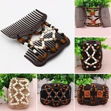 UK SELLER Magic Wooden EZ Stretchy Double Clips Hair Slide Comb Ladies African