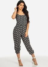 Women's Summer Spaghetti Strap Printed Jumpsuit (Black and Green) 40970W