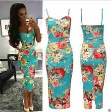 Ladies Womens Strappy Cami Green Floral Print Bodycon Midi Dress Size UK 8-26