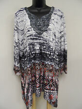 ONE WORLD Plus Size 3X CROCHET TRIM Top EMBELLISHED Shirt LONG Tunic STRETCH NWT