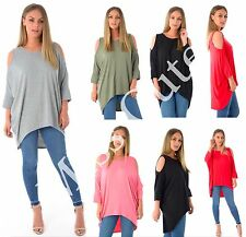 NEW WOMENS LADIES LONG BATWING TOP CUT OUT COLD SHOULDER DIP HEM LOOSE FIT TUNIC