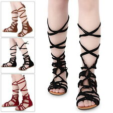 Women Ladies Strappy Gladiator Cut Out Sandal Knee High Boot Flat Summer Shoes K