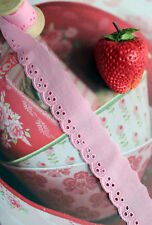 14yds Embroidery cotton lace trim flower and mini circle eyelet 1inch pink