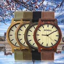 Bewell Simple Design Man Wooden Watch Canvas Band Round Dial Watch Zs-W134a VE