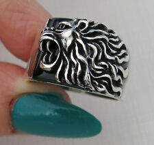 Handmade Zodiac Lion on Natural Green Agate Stone 925 Sterling Silver Men's Ring