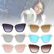 New Womens Stylish Ladies Retro Vintage Cat-Eye Mirror Plastic Sunglasses VE