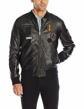 Guess Mens Bomber Jacket Faux Leather Patched & Embroidered L Black NWT