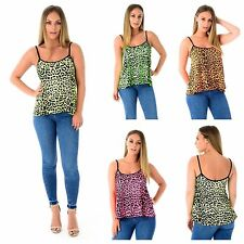 WOMENS LADIES SLEEVELESS NEON ANIMAL LEOPARD PRINT CAMI VEST TOP PLUS SIZE 8-22