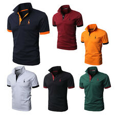 Mens Slim Fit Short Sleeve Polo Shirts Tops Stylish Designed Casual T-shirts Tee