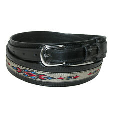 New CTM Men's Leather Removable Buckle Ranger Belt with Fabric Inlay