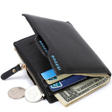 Men Bifold Genuine Leather Card Holder Mens Coin Slim Wallet Money Clip Purse