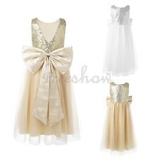 Kids Girls Sequins Bow Tulle Flower Dress Princess Pageant Wedding Party Gown