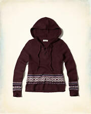 Abercrombie & Fitch – Hollister Womens Sweater Lace Up Hooded XS Burgundy NWT