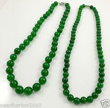 Green Round Jade Beaded Necklace & Magnetic or Ring Clasp 18 Inches 8mm/10mm