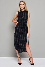 Glamorous Ladies Navy Blue Checked Print Belted Maxi Shirt Dress