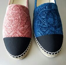 17A CHANEL ICONIC LUXURIOUS BLUE CAMELLIA FLOWER ESPADRILLES 36 38 39 40 41 42