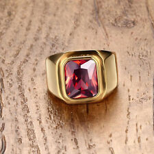 AAA Jewelry Hot Men's Red Ruby 10KT Yellow Gold Filled Rings Size 8-11 Gift