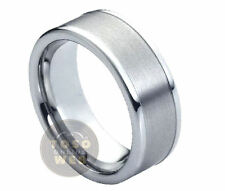 Men's 8mm Pipe-Cut High Polish Tungsten Carbide Ring w/ Brushed Center TS0210