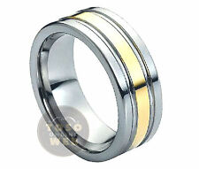 Men's 8mm 2-Tone Pipe-Cut Tungsten Ring w/ Yellow Gold IP Grooved Center TS0270