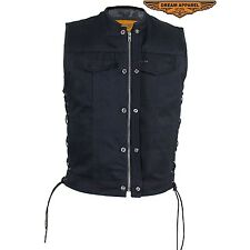 Men's Motorcycle Black Denim Club Vest With Genuine leather side laces