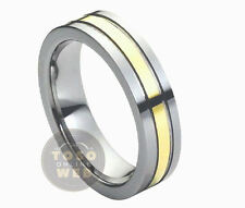 Ladies 6mm 2-Tone Pipe-Cut Tungsten Ring w/ Yellow Gold IP Grooved Center TS1700