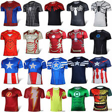 Men Superhero Avenger Compression Stretch T-shirt Cycling Shirts Jersey Tops Tee