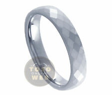 Ladies 4mm Faceted Cut Wedding Band High Polished Tungsten Ring TS1720