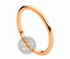Ladies 2mm Dome Rose Gold Plated High Polished Tungsten Ring TS2060