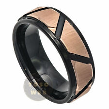 Men's 8mm 2-Tone Tungsten Ring  w/ Brushed Rose Gold IP Trapezoids Center TS7460