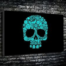 """Turquoise Floral Skull Printed Canvas A1.30""""x20""""-Deep 30mm Frame. Gothic Art"""