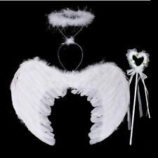 Adult & Kids Fancy Feather Wings Angel Halloween Party Fairy Dress Costume 3pcs