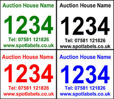 Auction Lot Number Labels, Sticky, Easy Peel, No Residue, Personalised Free