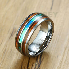 Men's 10mm Tungsten Carbide CZ Ring Wedding Engagement Band Brushed Finish Lines