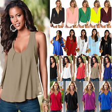Plus Size Womens Summer Chiffon Tank Top T-shirt Casual Loose Blouse Mini Dress