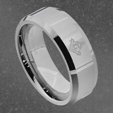 8mm Tungsten Masonic Freemason Silver Flat Beveled Edge Men's Band sz 8-13