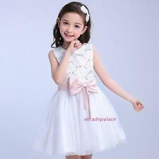New Summer Kids Young Girls Beads Sweet Big Bow Princess Sleeveless Dance Dress