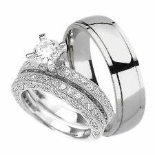 His and Her Wedding Rings Set Hers in Sterling Silver His is Titanium