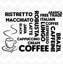 COFFEE word cloud vinyl wall art sticker decal kitchen cafe decor removable DIY