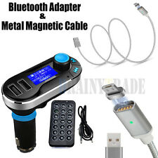 Bluetooth Car Kit MP3 Player FM Transmitter USB Charger +Magnetic Charging Cable