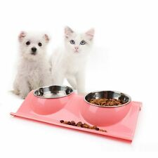 Stainless Steel No Slip Dog Cat Puppy Pet Food Water Bowl Dish w/ Holder