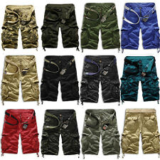 Mens Summer Casual Cargo Pants Shorts Trousers Cotton Military Camo Army Combat