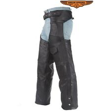 Mens Motorcycle Black Leather Chaps With Liner 7XL To 10XL
