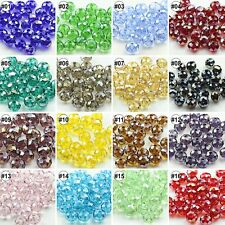 100/500pcs Mixed AB Colour Synthetic Crystal Round Flat Loose Beads 4x6mm 6x8mm