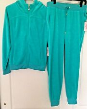 JUICY COUTURE Women's VELOUR TURQUOISE HOODIE & JOGGER TRACK SUIT LG NEW AUTH