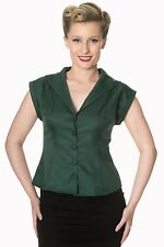 Banned Apparel 50s Rockabilly Vintage Blouse Shirt Button Top Pinup Dark Green