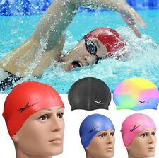 Unisex Waterproof Silicone Ear Long Hair Protection Swim hat Pool Swimming Cap