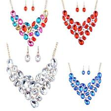 Gorgous Crystal Pendant Bridal Necklace Dangle Earring Fancy Wedding Jewelry Set
